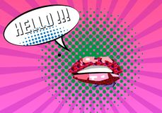 Sweet Pair of Glossy Vector Lips. Open Sexy wet red lips with teeth Warhol style poster, Expression text HELLO. Vector. Illustration, vintage design, pop art Stock Images