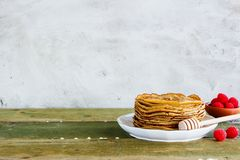 Sweet pancake tower Royalty Free Stock Image
