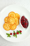 Sweet pancakes with cherry sauce decorated Royalty Free Stock Photo