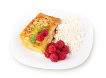 Sweet pancakes with cottage cheese Stock Image