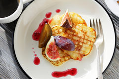 Sweet pancakes with figs Stock Images