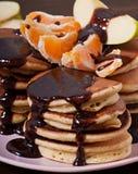 Sweet pancakes with fruit, homemade Royalty Free Stock Photos