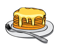 Sweet pancakes with honey on the plate - eps 10. Sweet pancakes with honey on the plate - vector Stock Photos