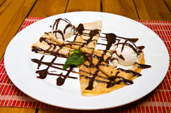 Sweet pancakes with icecream Royalty Free Stock Images