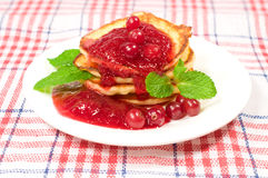 Sweet pancakes with jam Royalty Free Stock Image