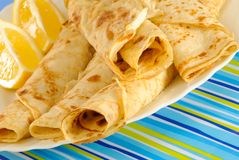 Sweet Pancakes With Lemon Royalty Free Stock Photos