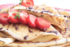 Sweet pancakes with strawberries Royalty Free Stock Images