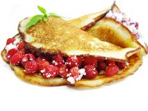 Sweet pancakes with wild strawberry fruit jelly Stock Image