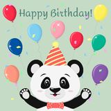A sweet panda in a butterfly hat and tie stands with his arms raised against the background of balloons in cartoon style stock illustration