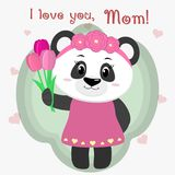 Sweet panda holds three tulips. Congratulations on your mother`s day, in the style of cartoons. royalty free illustration