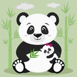 A sweet panda sits and holds a baby with a pink bow and a bamboo branch, against a background of bamboo trees and clouds. Style cartoon, flat, vector stock illustration