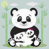 A sweet panda sits and holds a child with a bow, next to it sits another baby, he is surprised. Against the backdrop of bamboo tre. Es, clouds and sun. Style vector illustration