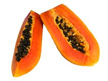 Sweet Papaya Fruits Isolated on White Backgroound. With Clipping Path Royalty Free Stock Images