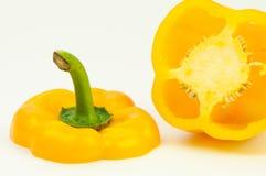 Sweet paprika. Sweet yellow paprika cut in half Stock Photos