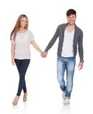 Sweet partners hold hands royalty free stock photo