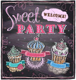 Sweet party chalkboard. Royalty Free Stock Images
