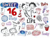 Sweet 16 party, doodle set Stock Image