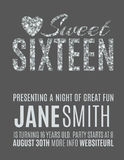 Sweet 16 party invitation template. Sweet sixteen glitter party invitation flyer template design Royalty Free Stock Photos