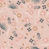 Sweet pastel Embroidery colorful floral seamless pattern with l royalty free illustration