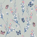 Sweet pastel Meadow flowers blowing in the wind with butterflies stock illustration