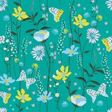 Sweet vintage pastel Seamless Pattern colorful wind blow flowers Stock Photos