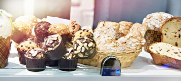 Sweet pastries on counter of  shop. Sweet pastries on the counter of a pastry shop stock images