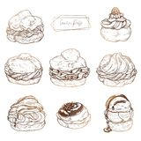 Sweet pastries - cream puffs. Vector set of cakes with fruit and berry stuffing, cream and chocolat royalty free illustration