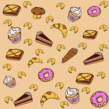 Sweet pastries. Pattern of different pastries and desserts on bright background Royalty Free Stock Photo
