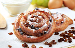 Sweet pastries with raisins Stock Image