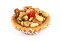 Sweet pastry basket with nuts Stock Image