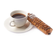 Sweet pastry bun and coffee isolated Stock Image