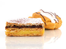 Sweet  pastry cream. Sweet pastry with cream on the table Stock Photography