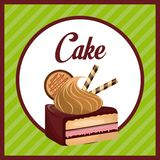 Sweet pastry design. Sweet cake dessert icon over green background. pastry design. over white background Royalty Free Stock Photography