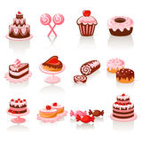 Sweet pastry icons. Set of 12 glossy sweet pastry icons Stock Photos