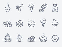 Sweet pastry icons Royalty Free Stock Image