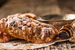 Sweet Pastry. Sweet pie honey cup of coffee on wooden table. Swe Royalty Free Stock Photography