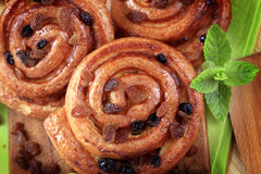 Sweet pastry rolls with raisins Royalty Free Stock Photos