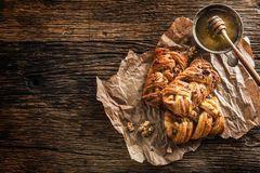 Sweet Pastry. Sweet pie honey cup of coffee on wooden table. Swe Stock Images