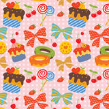Sweet Pattern. With pictures of candy, donuts, cup cakes, cookies, etc Royalty Free Stock Images