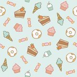 Sweet pattern. Cakes, cupcakes, candies, donuts, Stock Photos