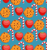 Sweet pattern. Cookies and mint stick ornament. Strawberry backg Stock Photography