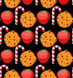 Sweet pattern. Cookies and mint stick ornament. Strawberry backg Royalty Free Stock Photos