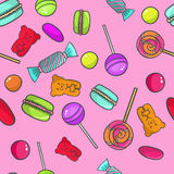 Sweet pattern. Cute seamless vector pattern. Sweet background with candy lollipops and macaroons Stock Photos