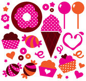 Sweet patterned cakes set for Valentines day Royalty Free Stock Image