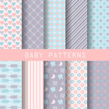 Sweet patterns. 10 different baby girl patterns. sweet pastel for valentines concept. Endless texture for wallpaper, fill, web page background, surface texture Stock Image