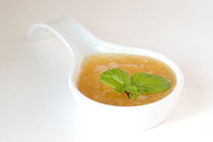 Sweet peach sauce decorated with mint royalty free stock photo