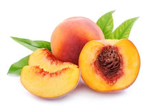 Sweet peaches with slice isolated Royalty Free Stock Images