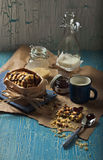 Sweet peanut cookies with milk Royalty Free Stock Image