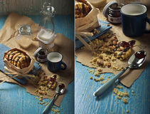 Sweet Peanut Cookies With Milk Stock Photos