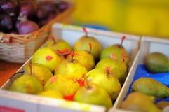 Sweet pears on farmer market Stock Photo